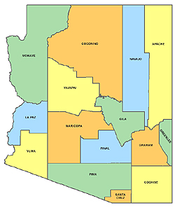 Arizona state and county map
